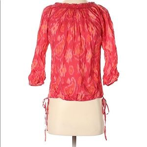 Lucky Brand Red Paisley Tie Dye 3/4 Sleeve Blouse